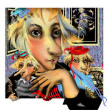 Retrato de uma mulher estranha com um nariz longo Fotos de Stock Royalty Free