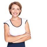 Retrato de uma mulher feliz branca adulta nova bonita Fotografia de Stock
