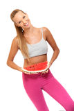 Retrato de uma mulher feliz com um melão Foto de Stock