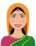 Vestido tradicional da mulher indiana ilustração royalty free