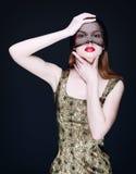 Retrato de uma mulher misteriosa em um véu Fotos de Stock Royalty Free