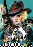 Retrato de uma mulher no chapéu e em um gato persa pequeno Fotos de Stock Royalty Free