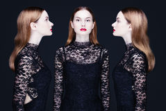 Retrato de uma mulher nos três ângulos Fotografia de Stock