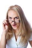 Retrato de uma mulher nova surpreendida Imagens de Stock Royalty Free