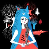 Retrato de uma natureza da menina do lobo Foto de Stock