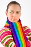 Retrato de uma rapariga com lenço colorido Fotos de Stock Royalty Free