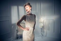 Retrato de uma senhora bonita e elegante fotos de stock royalty free