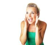 Retrato de uma senhora nova gritando feliz Fotos de Stock Royalty Free