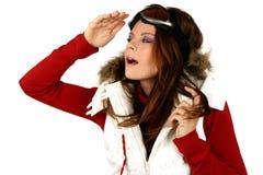 Retrato de uma snowboarding feliz da rapariga Fotos de Stock