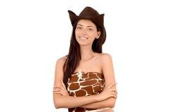 Retrato de uma vaqueira americana 'sexy' com chapéu. Imagem de Stock