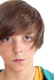 Retrato de un adolescente, aislado en blanco Foto de archivo libre de regalías