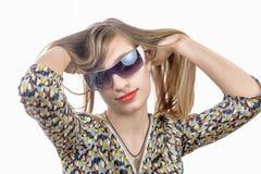 Retrato de un adolescente con los vidrios Foto de archivo