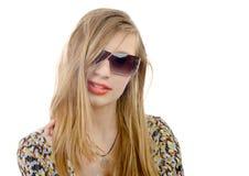 Retrato de un adolescente con los vidrios Imagenes de archivo