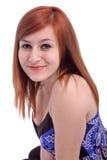 Retrato de un adolescente hermoso con en el azul Fotos de archivo libres de regalías