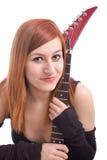 Retrato de un adolescente hermoso con la guitarra Foto de archivo