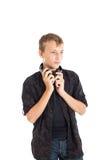 Retrato de un adolescente lindo con los auriculares Imagen de archivo