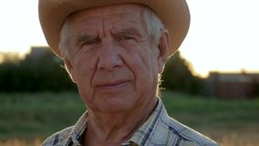 Retrato de un agrónomo caucásico mayor del granjero en un sombrero de vaquero en el campo metrajes