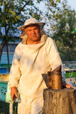 Retrato de un apicultor en el colmenar en la colmena Fotos de archivo