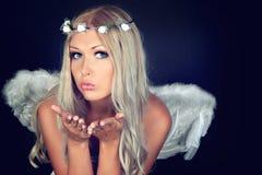 Retrato de un blonde en traje del ángel Fotografía de archivo libre de regalías