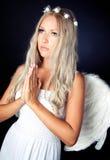 Retrato de un blonde en traje del ángel Foto de archivo