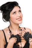 Retrato de un brunette alegre hermoso. Aislado imágenes de archivo libres de regalías