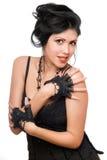 Retrato de un brunette joven hermoso. Aislado foto de archivo