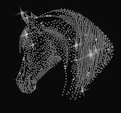 Retrato de un caballo de diamantes artificiales ilustración del vector