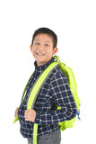 Retrato de un colegial con la mochila Fotos de archivo libres de regalías