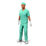 Retrato de un ejemplo maduro confiado del doctor Isolated On White 3D libre illustration