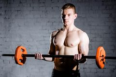 Retrato de un entrenamiento muscular del hombre con el barbell en el gimnasio Imágenes de archivo libres de regalías