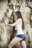 Retrato de un escalador hermoso de la mujer joven Imagen de archivo