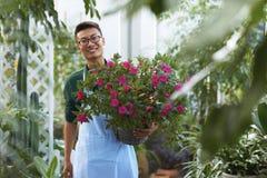 Retrato de un florista de sexo masculino joven feliz en tienda Fotos de archivo libres de regalías