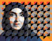 Retrato de un hijab que lleva de la mujer ?rabe stock de ilustración