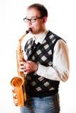 Retrato de un hombre con un saxofón Imagenes de archivo