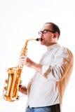 Retrato de un hombre con un saxofón Fotografía de archivo