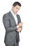 Retrato de un hombre de negocios serio acertado Imagen de archivo