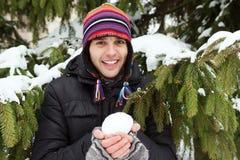Retrato de un hombre en invierno fotografía de archivo