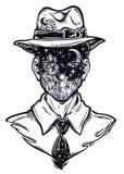 Retrato de un hombre extraño con la cara anónima en un sombrero Estilo Noir con la cabeza del paisaje del desierto