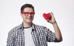 Retrato de un hombre joven con forma del corazón Imagenes de archivo