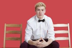 Retrato de un hombre joven hermoso en el desgaste formal que se sienta en silla sobre fondo rojo Imagen de archivo