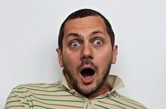 Retrato de un hombre sorprendido Foto de archivo libre de regalías