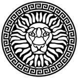 Retrato de un león, y meandros. Foto de archivo libre de regalías