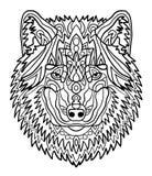 Retrato de un lobo Modelos dibujados mano para colorear Dibujo de bosquejo a pulso para el libro de colorear antiesfuerzo adulto  libre illustration