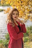retrato de un modelo pensativo de la chica joven en un parque del otoño Imágenes de archivo libres de regalías