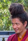 Retrato de un monje budista sonriente, Katmandu, Nepal imagenes de archivo