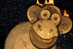 Retrato de un mono del fuego de los Años Nuevos Fotos de archivo