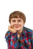 Retrato de un muchacho adolescente en el estudio aislado en blanco Foto de archivo libre de regalías