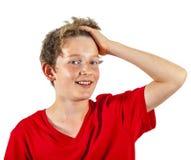 Retrato de un muchacho adolescente sonriente en estudio Fotos de archivo