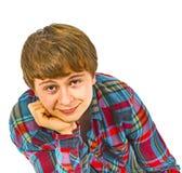 Retrato de un muchacho adolescente sonriente en estudio Fotografía de archivo
