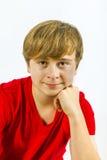 Retrato de un muchacho con el pelo rubio Imágenes de archivo libres de regalías
